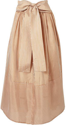 BEIGE Silvia Tcherassi Vattaro Belted Striped Silk Midi Skirt