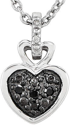 FINE JEWELRY White and Color-Enhanced Black Diamond-Accent Sterling Silver Heart Pendant Necklace