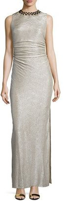 Laundry By Shelli Segal Embellished-Neck Shirred Gown, Gold/Silver $345 thestylecure.com