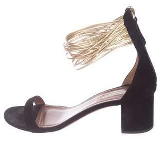 Aquazzura Suede Ankle Strap Sandals