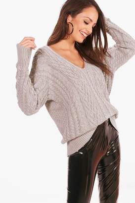boohoo Tiffanie Cable Knit Plunge Neck Oversized Jumper