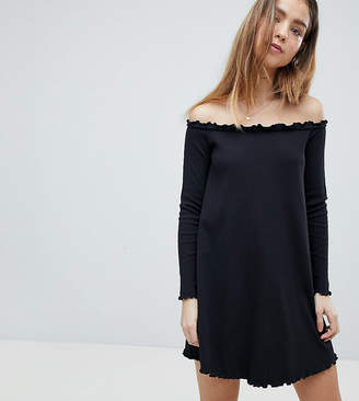 Asos Babylock Rib Off Shoulder Mini Dress