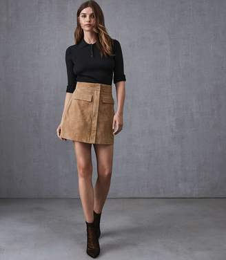 Reiss LEAH SUEDE MINI SKIRT Stone