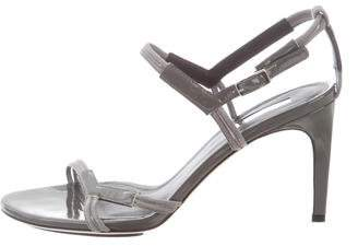 Calvin Klein Collection Suede & Patent Leather Multistrap Sansals