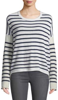 ATM Anthony Thomas Melillo Block-Striped Cashmere Crewneck Sweater