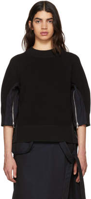 Sacai Black Poplin Flare Side Knit Sweater