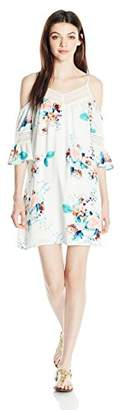 My Michelle Sequin Hearts Junior's Printed Cold Shoulder Dress with Crochet