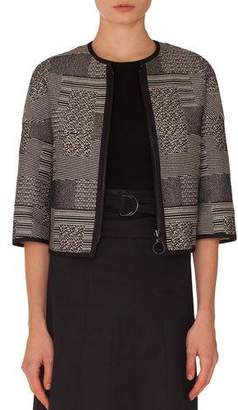 Akris Punto Graphic-Jacquard Zip-Front Jacket with Solid Piping