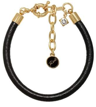 Karl Lagerfeld Gold Plated Leather Swarovski Crystal Accented Charm Leather Bracelet