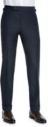 Tom Ford O'Connor Base Flat-Front Sharkskin Trousers, Navy