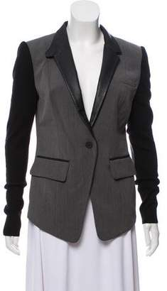 Yigal Azrouel Cut25 by Leather-Trimmed Button-Up Blazer