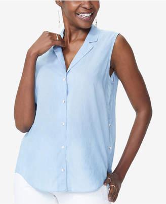 NYDJ Sleeveless Button-Trim Shirt