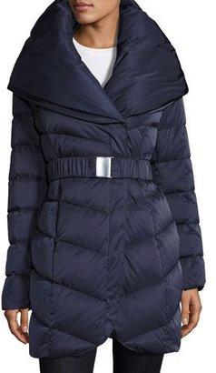 T Tahari Matilda Belted Down Coat, Blue $255 thestylecure.com
