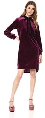 Wild Meadow Women's Mock Neck Tie Long Sleeve Shirt Dress XS