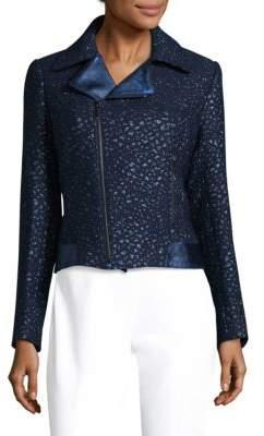 Elie Tahari Mae Leather-Trimmed Moto Jacket