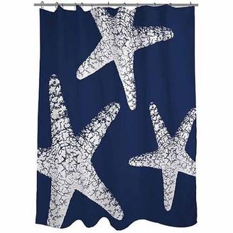 "Thumbprintz Nautical Nonsense White Blue Starfish Shower Curtain, 71"" x 74"""