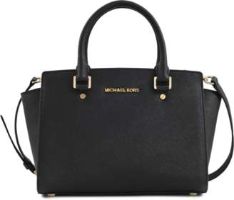 MICHAEL Michael Kors Selma Medium Top Zipped Satchel Bag in Black Saffia Leather