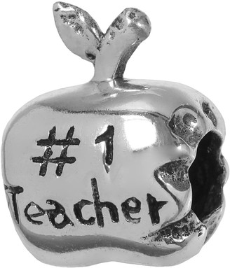 """Individuality Beads Sterling Silver """"#1 Teacher"""" Apple Bead"""