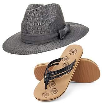 Aerusi Coco Keys Year Round Floppy Straw Sun Hat and Foam Flip Flop Sandals Bundle Set