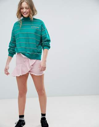Pull&Bear Pink Denim Ruffle Skirt