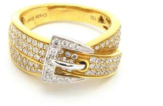 18K White & Yellow Gold Diamond Belt Buckle Ring