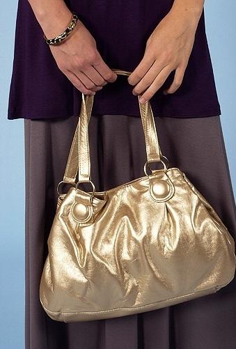 Style Violet Gold Metallic Handbag