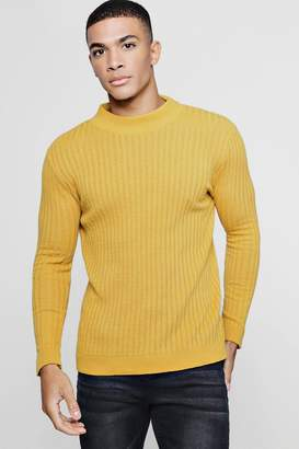 boohoo Muscle Fit Ribbed Turtle Neck Jumper
