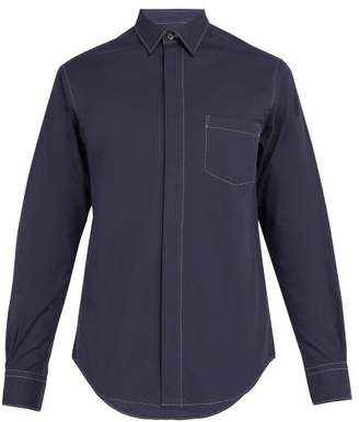 Cobra S.C. Cobra S.c. - Contrast Topstitching Cotton Shirt - Mens - Navy