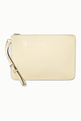 Valextra Moncler Genius - 2 Moncler 1952 Debossed Two-tone Textured-leather Clutch - Cream