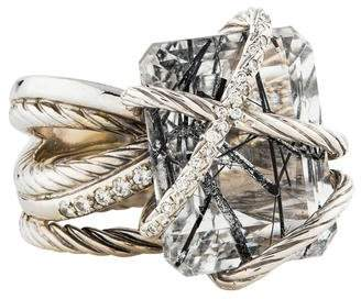 David Yurman 18K Diamond & Rutilated Quartz Cocktail Ring