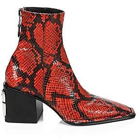Alexander Wang Women's Parker Square-Toe Python-Embossed Leather Ankle Boots