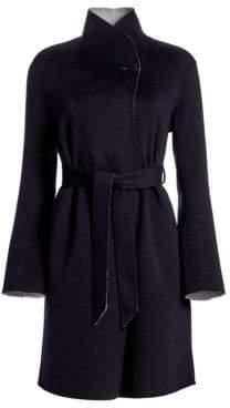 Emporio Armani Cashmere& Wool Contrast Wrap Coat