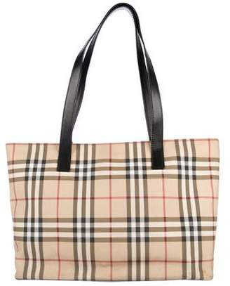 a9ba66d9747 Burberry Leather Trim House Check Tote