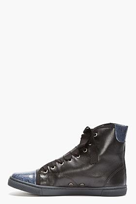 Lanvin Black Leather & Lizardskin High-Top Sneakers