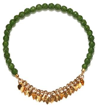 Satya Jewelry Jade Gold Plate Petal Stretch Bracelet