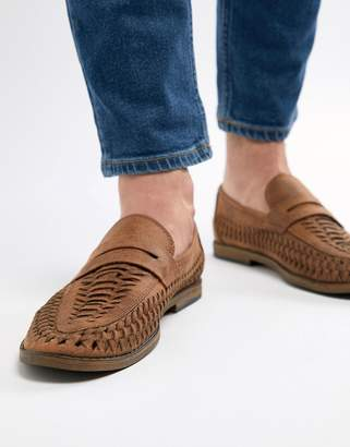 New Look Faux Leather Woven Loafers In Tan
