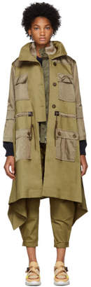 Chloé Beige and Green Fishtail Parka