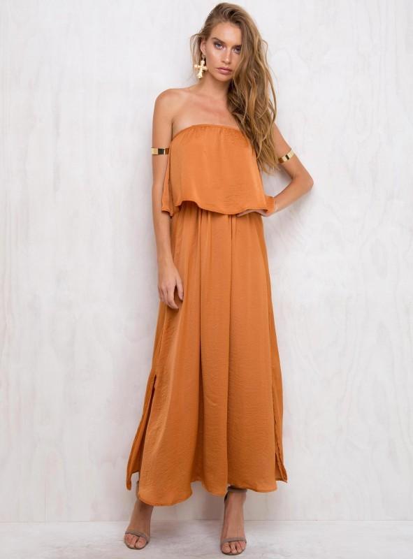 Orange Strapless Dress - ShopStyle Australia