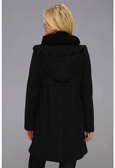 DKNY Knit Collar Babydoll Coat