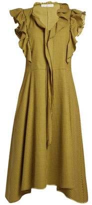 Golden Goose Gina ruffle-trimmed gingham midi dress