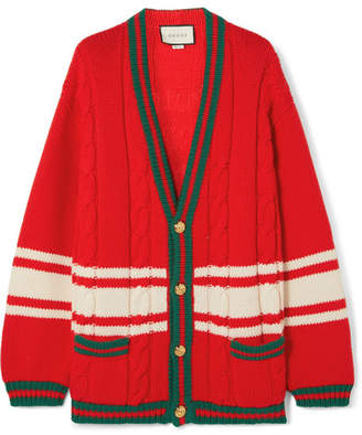 Gucci Chateau Marmont Embroidered Striped Cable-knit Wool Cardigan