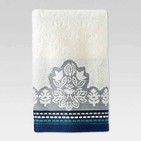 Buy Hand Towel Engineered Global Cream/Metallic Blue!