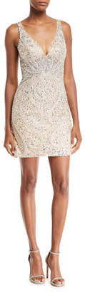 Jovani Beaded Paisley V-Neck Mini Dress
