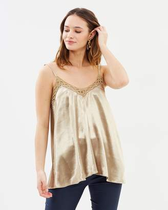 Layla Metallic Bruised Satin Lace Camisole Top