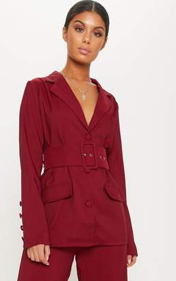 PrettyLittleThing Burgundy Triple Breasted Belt Detail Blazer