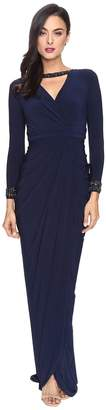 Adrianna Papell Long Sleeve Deep V-Neck Wrap Front Jersey Dress with Wrap Skirt Women's Dress