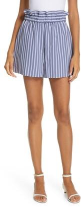Tibi High Waist Stripe Twill Shorts