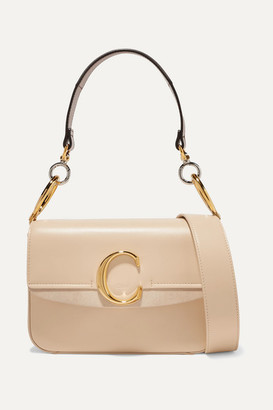 3dee21764 Chloé C Small Suede-trimmed Leather Shoulder Bag - Beige