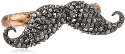 """Betsey Johnson Mysterious"""" Mustache Two-Finger Stretch Ring, Size 7.5"""""""