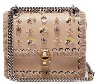Fendi Kan I Whipstitched Leather Cross Body Bag - Womens - Light Pink d60105d6810c3